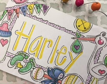 Hand personalized adorable baby nursery or baby shower gift sign