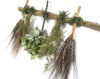Green Black Blue Hydrangea Wheat Dried Flower Swag Sampler