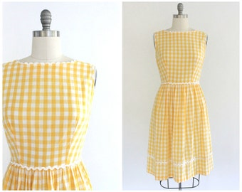 yellow gingham dress | vintage 1950s buffalo plaid day dress | vtg 50s sun dress | medium