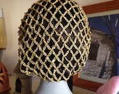 Gold sequinned snood/hairnet crocheted to an original 1940s pattern - 3 sizes available