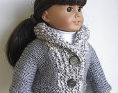 "18 Inch Doll Clothes Knit Cardigan Sweater in Gray with Soft and Silky  Homespun Collar Handmade to fit an American Girl and Other 18"" Dolls"