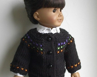 "18 Inch Doll Clothes Cardigan Sweater in Black with Purple Lime Green and Orange Accents  Handmade to fit American Girl and Other 18"" Dolls"