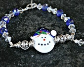 Handmade Lampwork Christmas Holiday Snowman Glass Bead Wire wrapped Bracelet Jewelry Artisan Generationslampwork SRA Sale