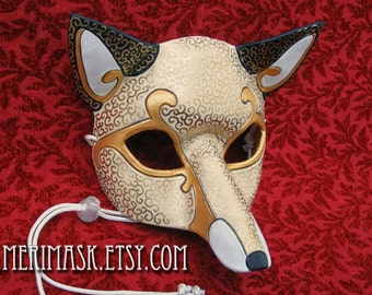 READY TO SHIP White Venetian Fox Mask... handmade leather masquerade fox foxes costume mardi gras halloween burning man