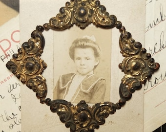 Vintage Thin Metal Frame Corners Stampings and Photo