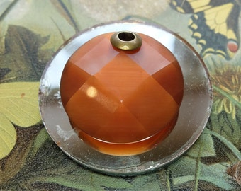 Vintage Faceted Glass Pendant Satin Glass