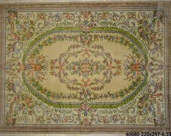 Rug Overdyed Vintage Multicolor Floral 7'x10'