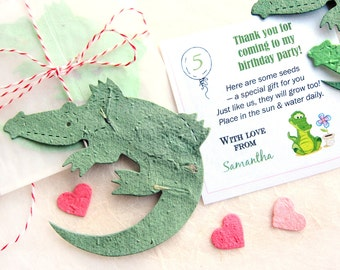 20 CUSTOM Seed Paper Lizards - Crocodiles Alligators - Monitor Lizard - Reptile Birthday Party Favors - Baby Shower Favors - Optional Cards