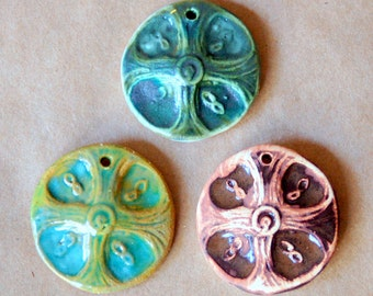 3 Handmade Ceramic Pendant Beads  - Celtic Cross Beads in green, brown, and green with brown
