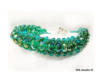 Green Crystal Bracelet Formal Bracelet - Dressy Jewelry Mother of the Bride - B2010-03