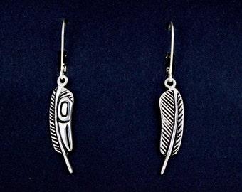 Raven Feather Earrings, Raven Earrings, recycled silver earrings