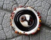 WARM Tone Glass BUTTON Lampwork Beads by Cherie Sra R114 Flamedworked Glass Button Orange Brown Yellow Coral Two Hole Handmade Button Sew