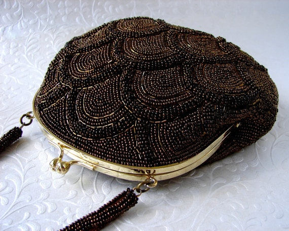 Vintage Brown Beaded Purse Copper Bronze Carnival Glass Bead Handbag Scallop Pattern Gold Kiss Clasp Prom Formal Evening Clutch Cocktail Bag