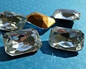 Christmas in July Sale - 18x13mm Crystal Clear Octagon Vintage Glass Rhinestone Jewels (12-7B-2)