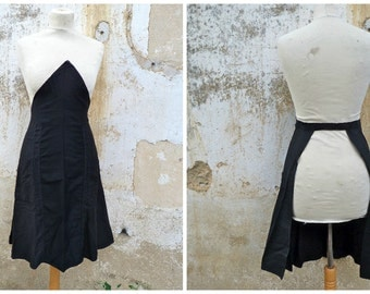 Vintage French 1920/1930  black sateen cotton  apron  2 pockets /workwear/Farm/countryside