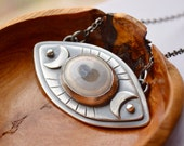 Eye Agate Necklace Handmade in Oxidized Silver, Third Eye Necklace in Silver, Unique Boho Metalwork, Bohemian Jewelry, Gift for a Friend