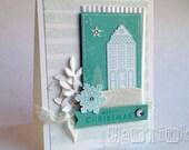 Elegant Merry Christmas House Fancy Greeting Card Handmade in White Light Aqua with Glitter