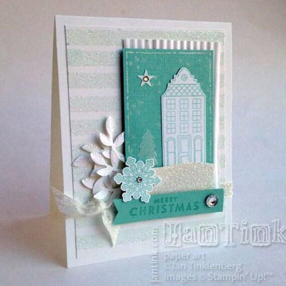 Elegant merry christmas house fancy greeting card handmade in for Elegant homemade christmas cards