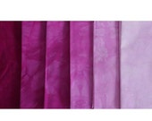 BOSENBERRY Shades - hand dyed Fabric - 6 pc Fat Quarter Gradation Bundle - Tuscan Rose BB68021