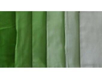 Hand Dyed Fabric - LIME GREEN Shades - 6 pc Fat Quarter Gradation Bundle - Tuscan Rose CYG831