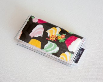 SALE Mini Card Holder / You're Invited  - Dear Sukie, mini card, moo card, small wallet, snap, vinyl, cute wallet, cupcakes, bakers wallet