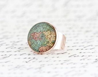 Stocking Stuffer Gift For Traveler - Bon Voyage Gift - Map Statement Ring - Rose Gold Map Ring - Gift For Traveler - Map Jewelry