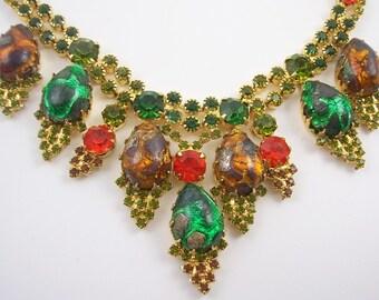 Vintage Juliana Colorful Rhinestone Necklace