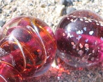 "Lampwork Glass  Beads, ""Raspberry Red"", 11mm round focal filler functional art"