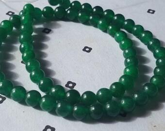 6mm Green Dyed Jade full strand