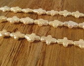 BIRTHDAY SALE - White Freshwater Pearl Crosses, 16 Inch Strand of Pearl Beads, Drilled in Two Directions, 14mm x 8mm (P-C10)