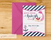 Girl Nautical- Mermaid - Birthday Party Invitation - Digital File or Printed