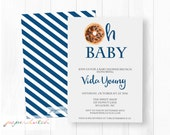 Oh Baby - Donut or Doughnut - Boy Baby Shower Brunch Invitation - Navy and Gray - Baby Brunch -  Digital File or Printed