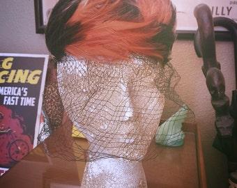 Vintage 1940s Hat feather orange black Swing Rockabilly Old Hollywood 1950s