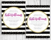 Custom Personalized Black and White Stripes Modern Girl's Baby Shower Printable Invitations - Hot Pink and Gold Glitter Confetti Polka Dots
