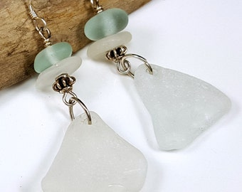 Sterling Silver Aqua and White Sea Glass Earrings Sea Glass Jewelry E-160