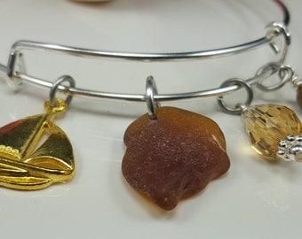 Expandable Adjustable Bracelet Brown Amber Sea Glass Bracelet Brown Amber Sea Glass Charm Bracelet B-215