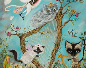 Cats, Unicorns, Harps, Birds, Flowers, Bees, Butterfly, Mushrooms, Redi Whip - Folk Surrealism Print - by Heather Renaux