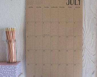 large kraft wall calendar - 15 months