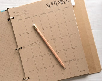 2017 large kraft monthly planner sheets