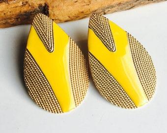 Vintage Yellow Enamel Earrings, Yellow Enamel, Vintage Earrings, Gold Plated Earrings, Post Earrings, Etsy, Etsy Jewelry
