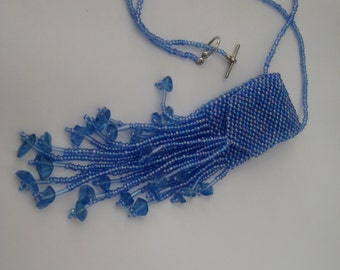 Beaded Necklace, Amulet Bag in Blue