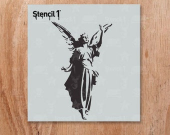 """Angel Stencil - Reusable Craft & DIY Stencils - Christmas and Holiday Stencils - S1_01_90_S - Small -(5.75""""x6"""")- By Stencil1"""