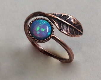 Thin ring, leaf ring, bronze ring, hippie ring, opal ring, gemstone ring, stacking ring, delicate bronze ring - Gone with the wind RC2062-1