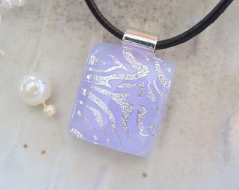Petite Dichroic Pendant, Glass Pendant, Fused Glass Jewelry, Lavender, Silver, Necklace Included, A8