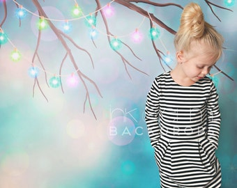 """Christmas Backdrop 5ft x 5ft, Holiday Christmas Photography Vinyl Backdrop, Christmas Lights Holiday Background Backdrop """"Branch Lights"""""""