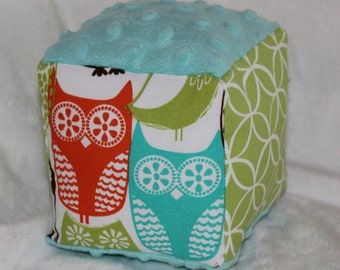 Swedish Owls Minky Block Rattle Toy