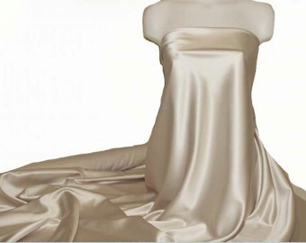 "Duchess satin Fabric 60"" wide  Champagne bridal, formal, pageant, suits , home decor"
