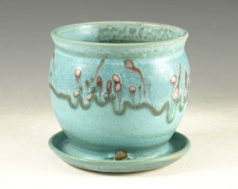 Small planter in turquoise glaze, flower, herb plant stoneware