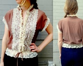 1970's Peasant Top // Ivory lace // women's small or medium blouse // victorian collar // 70's prairie girl revival / fitted chocolate brown