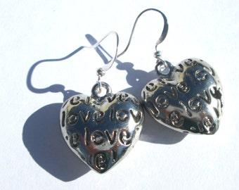 LOVE heart silver plate charm pierced dangle earrings affordable unique by Ziporgiabella